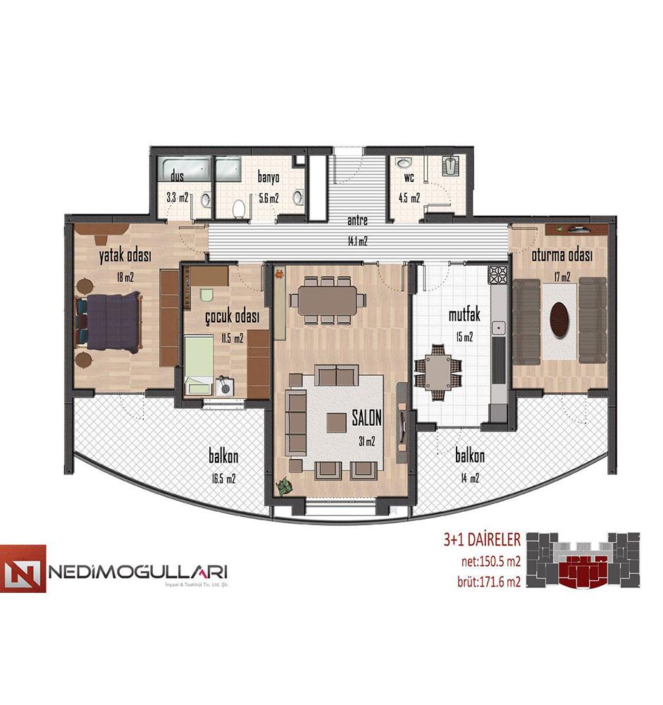 NED Yaşam Merkezi 3+1 Kat Planları