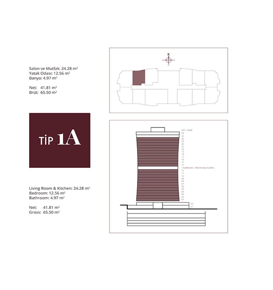 NG Residence 1+1 Kat Planları
