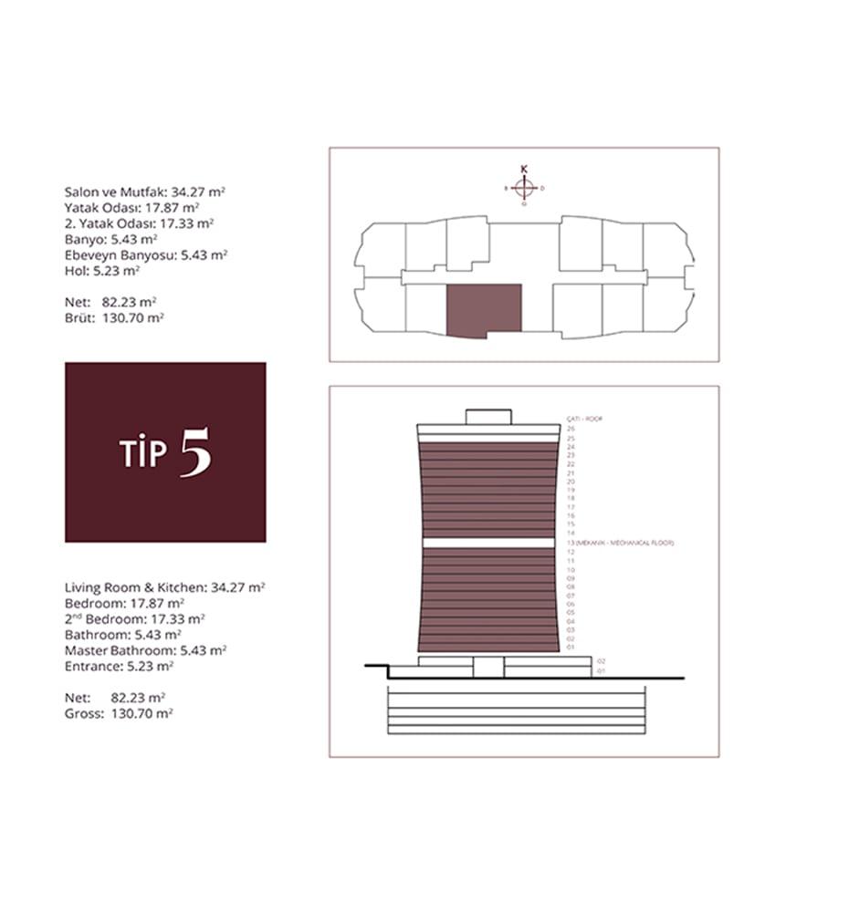NG Residence 2+1 Kat Planları