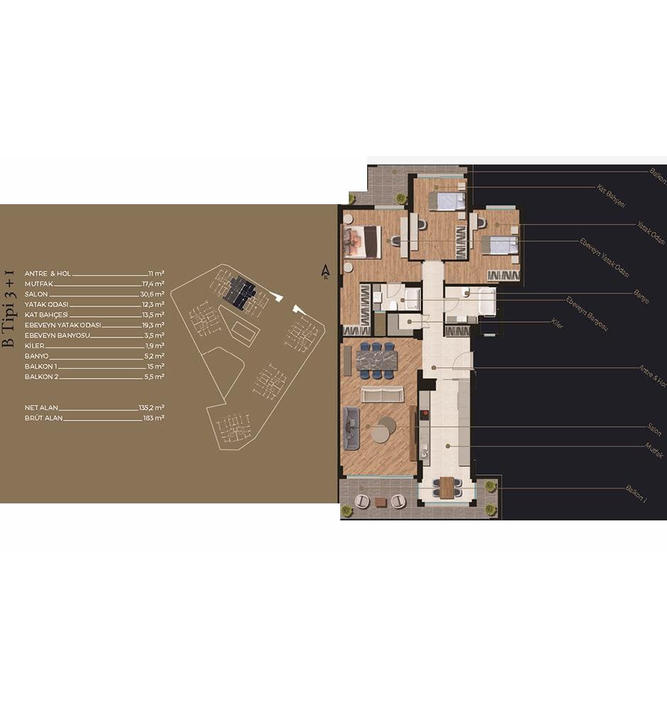 Nilüfer Evleri 3+1 Kat Planları