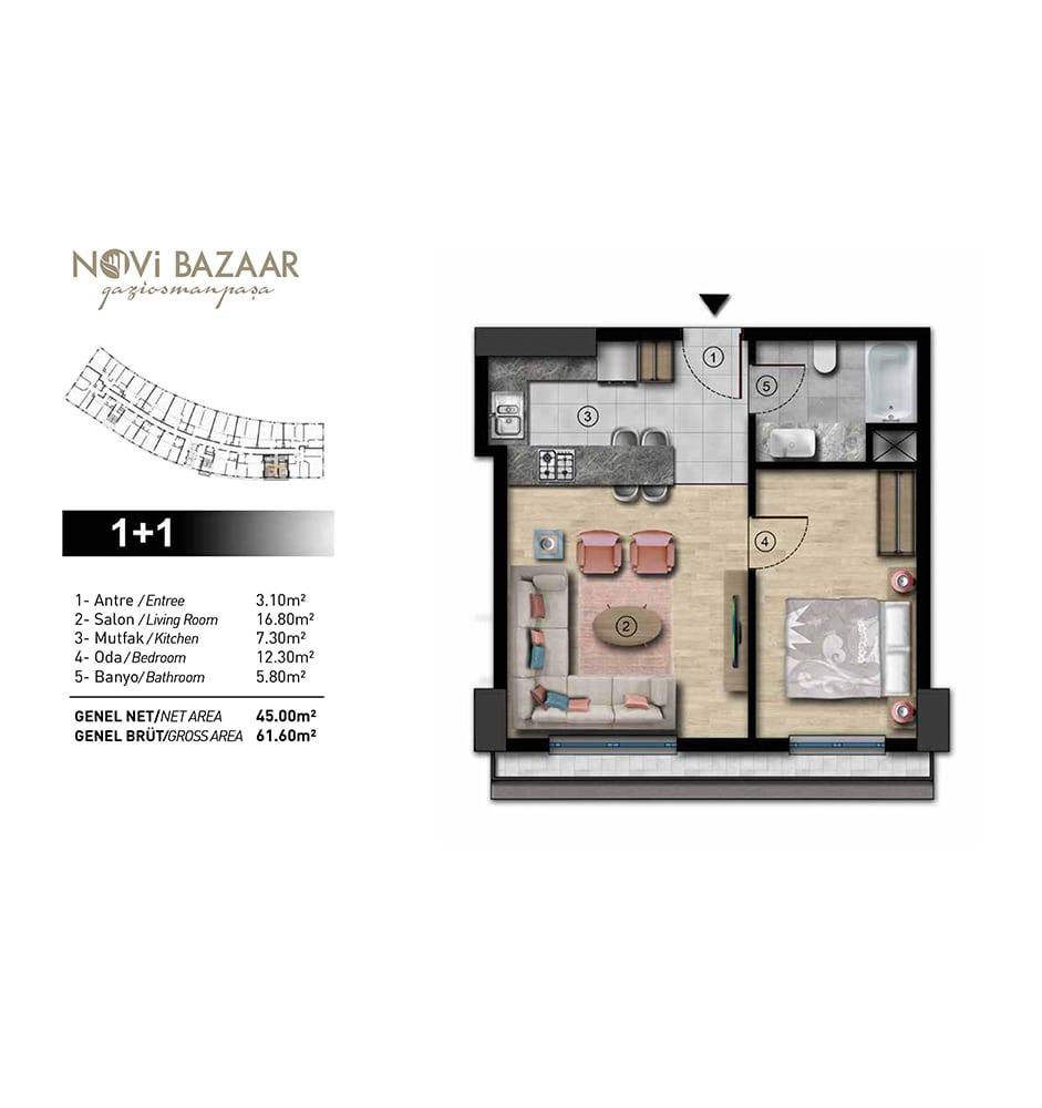 Novi Bazaar Gaziosmanpaşa  1+1  Kat Planları