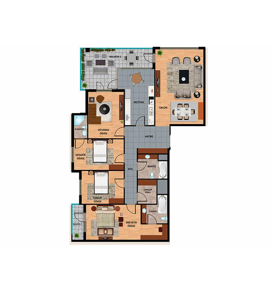 Oden Luxe 4+1 Kat Planları