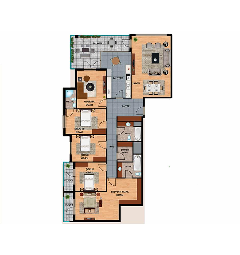 Oden Luxe 5+1 Kat Planları