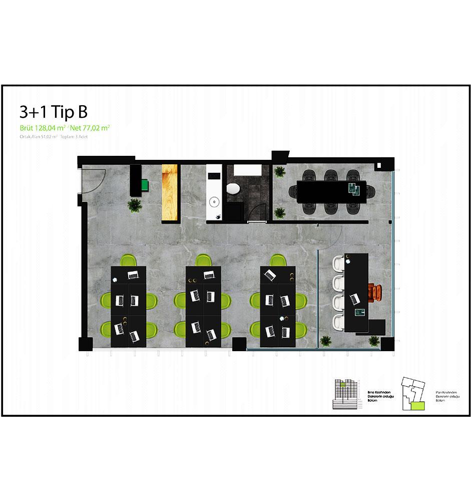 One Block Ümraniye  3+1 Kat Planları