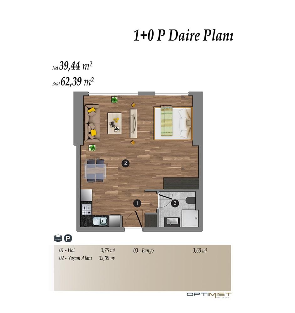 Optimist Residence 1+0 Kat Planları