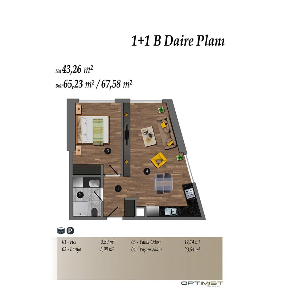Optimist Residence 1+1 Kat Planları