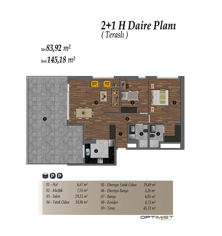 Optimist Residence 2+1 Kat Planları