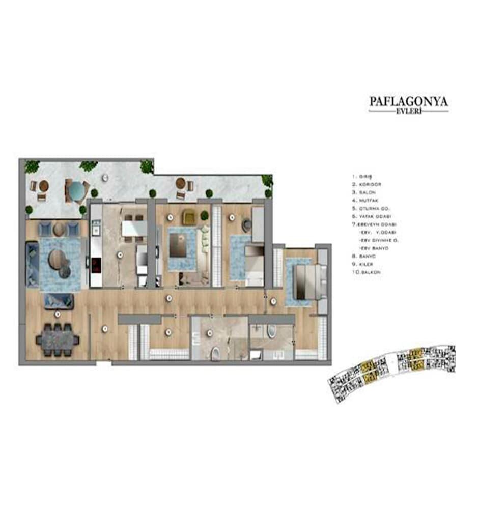Paflagonya Evleri 3+1 Kat Planları