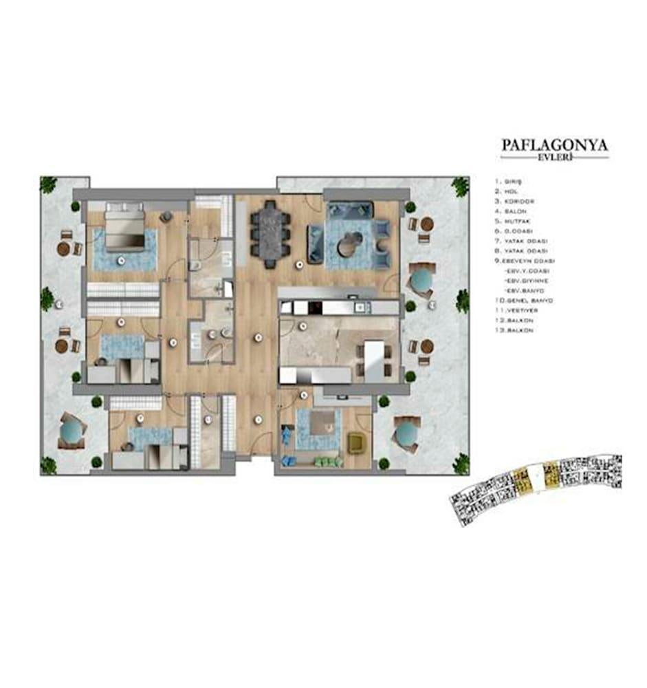 Paflagonya Evleri 4+1 Kat Planları