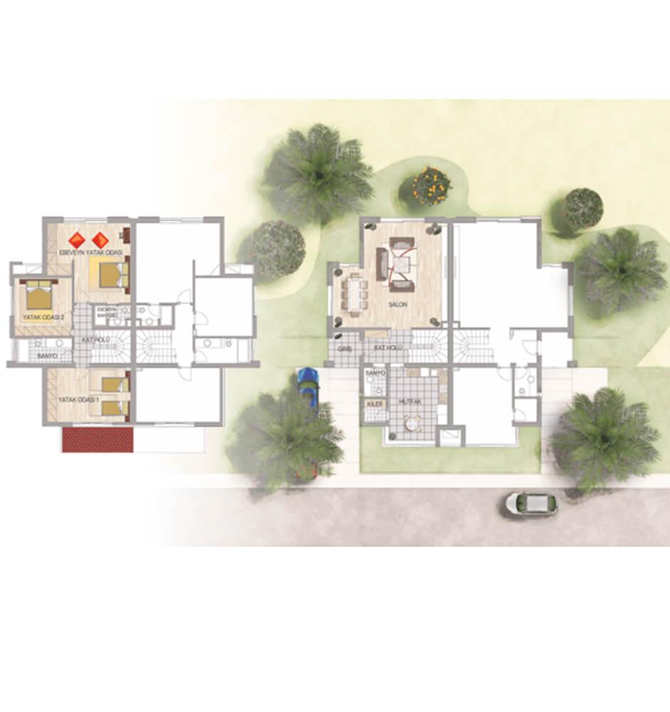 Palm City Modern  3+1 Kat Planları