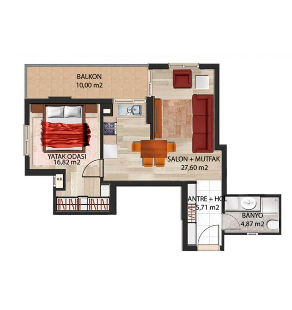 Panorama Evleri Mersin  1+1  Kat Planları