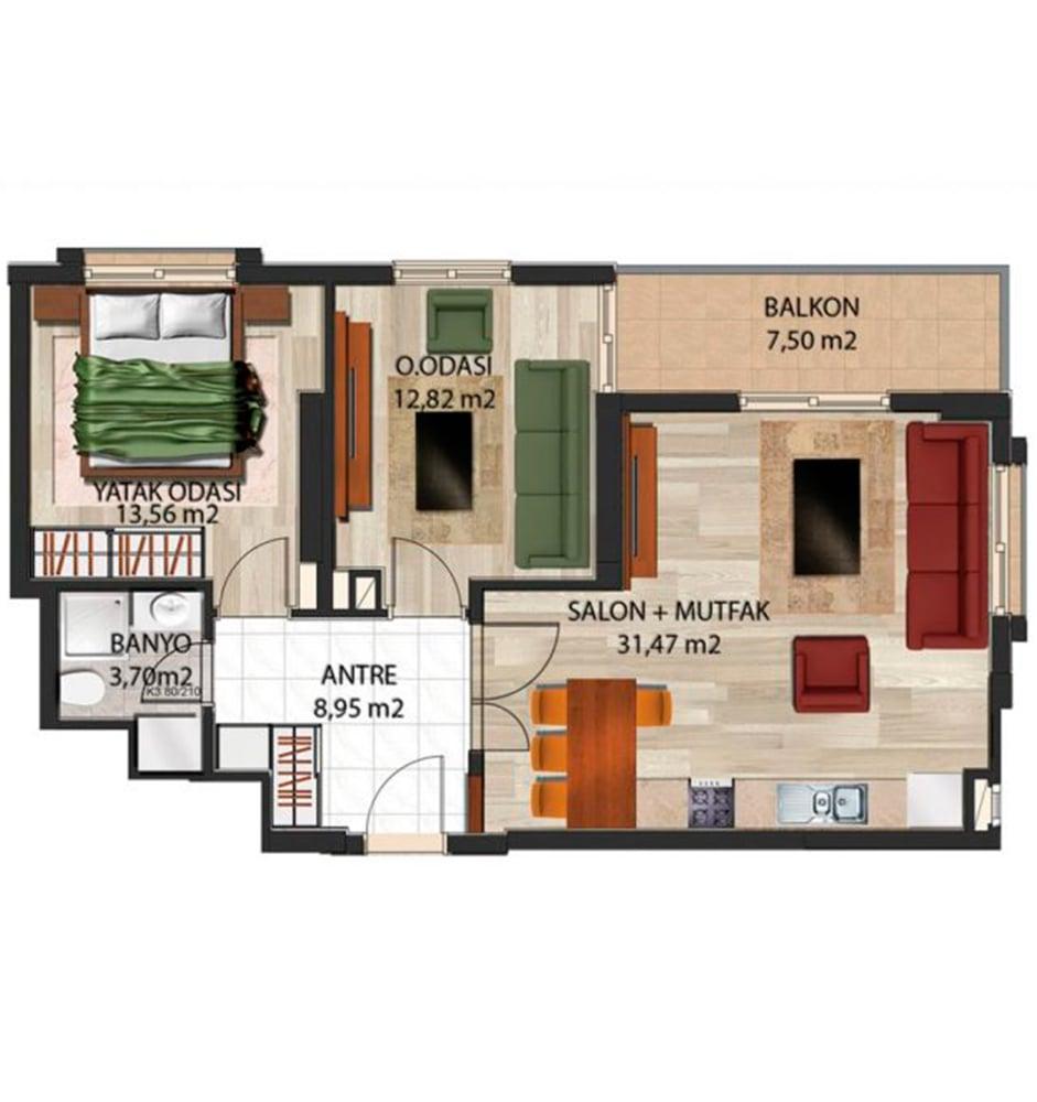 Panorama Evleri Mersin  2+1 Kat Planları