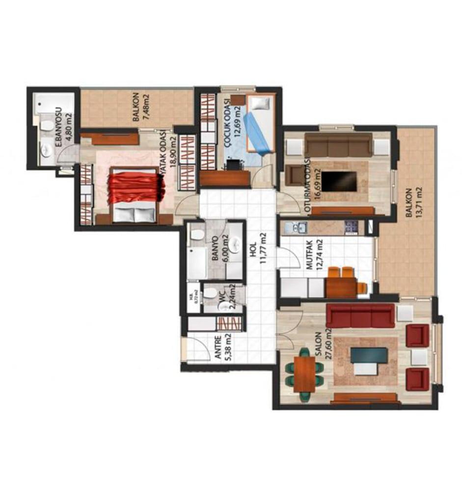 Panorama Evleri Mersin  3+1 Kat Planları