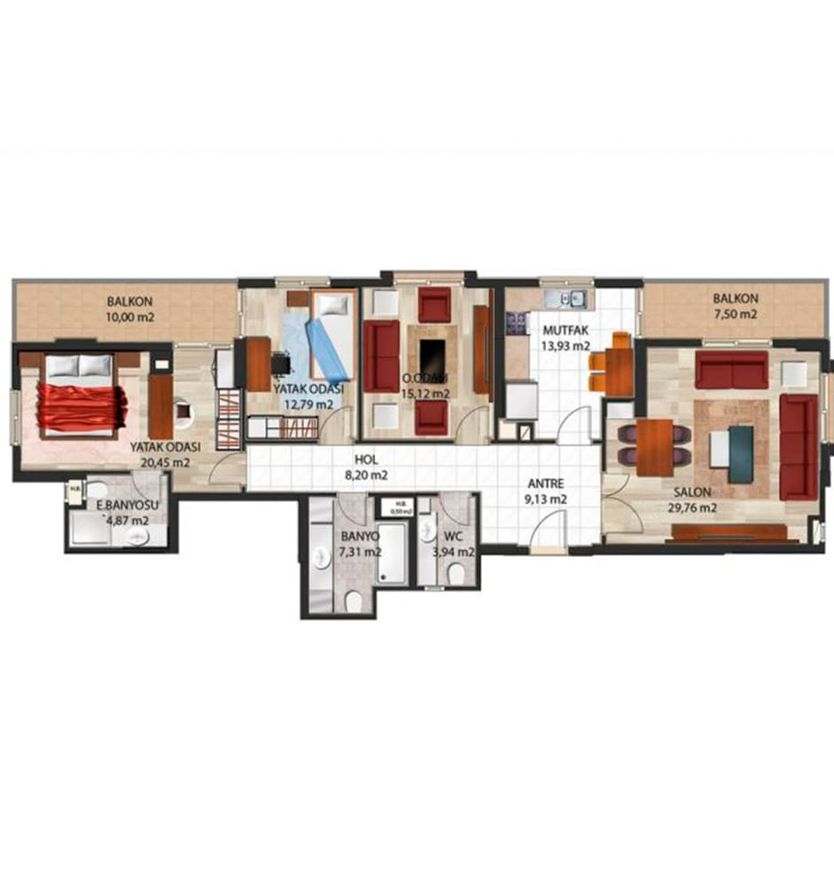 Panorama Evleri Mersin  3+1 plus Kat Planları