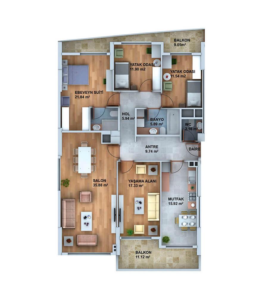 Panorama Plus Eskişehir 4+1 Kat Planları