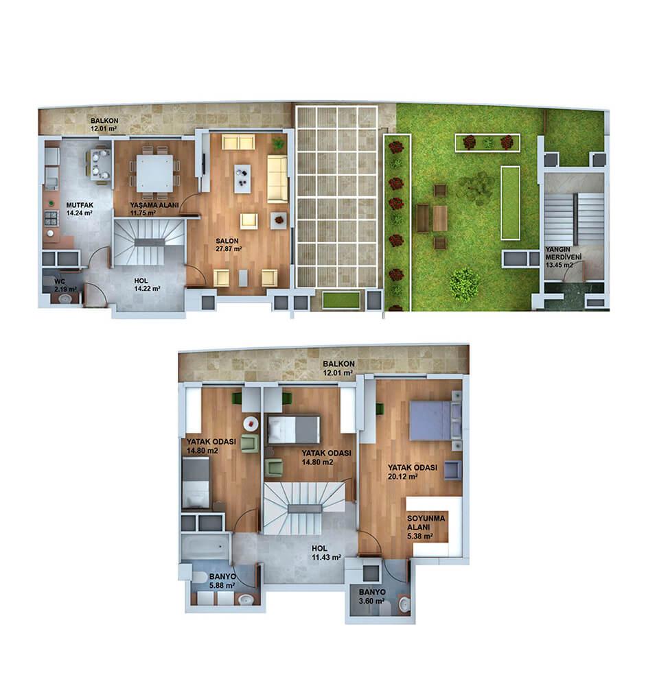 Panorama Plus Eskişehir 4+1 Dublex  Kat Planları