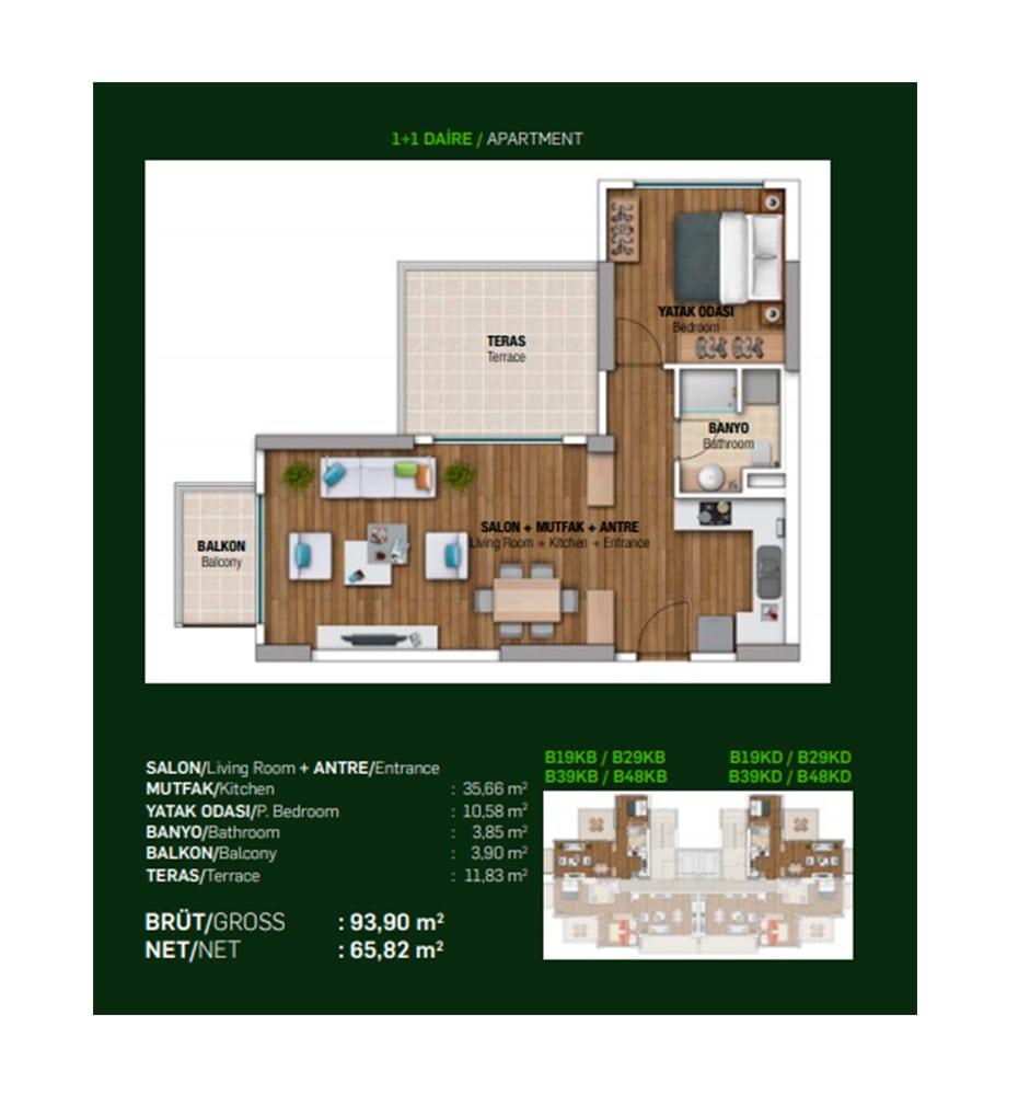 Papatya Park Residence 1+1 Kat Planları