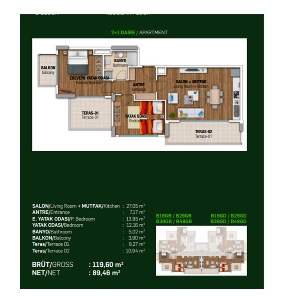 Papatya Park Residence 2+1 Kat Planları