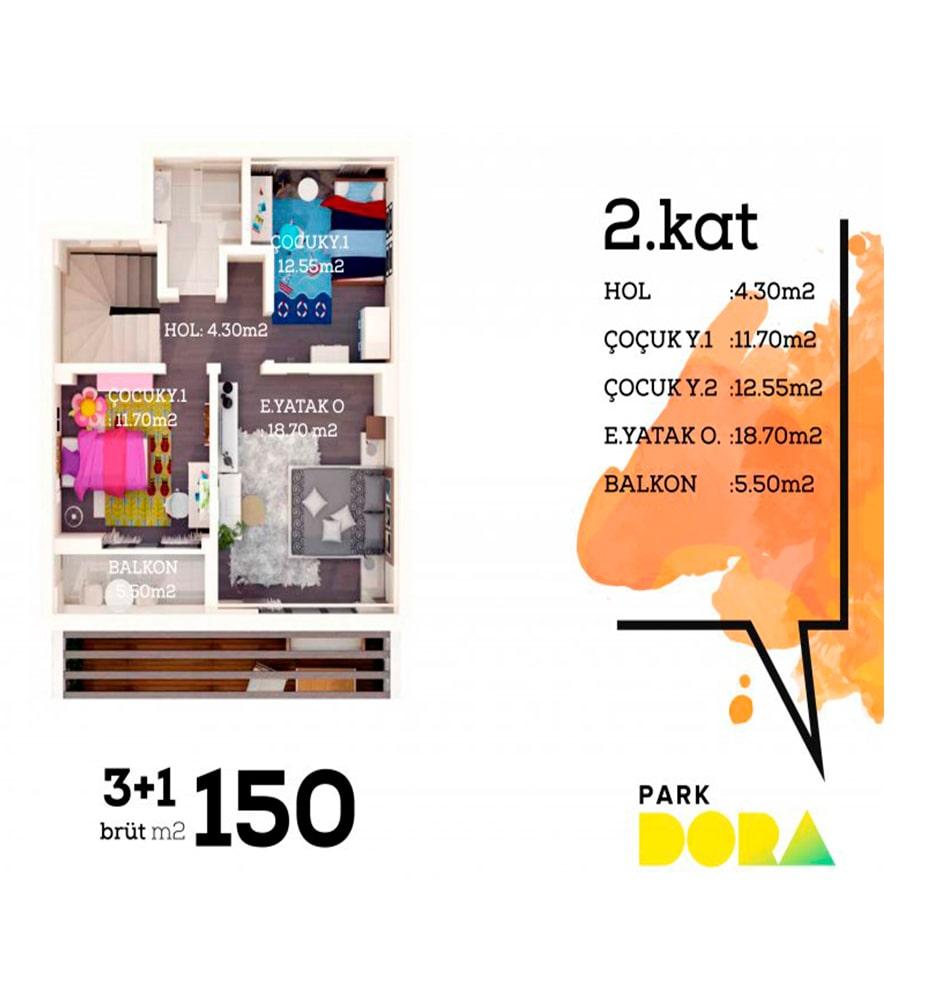 Park Dora 3+1 Kat Planları