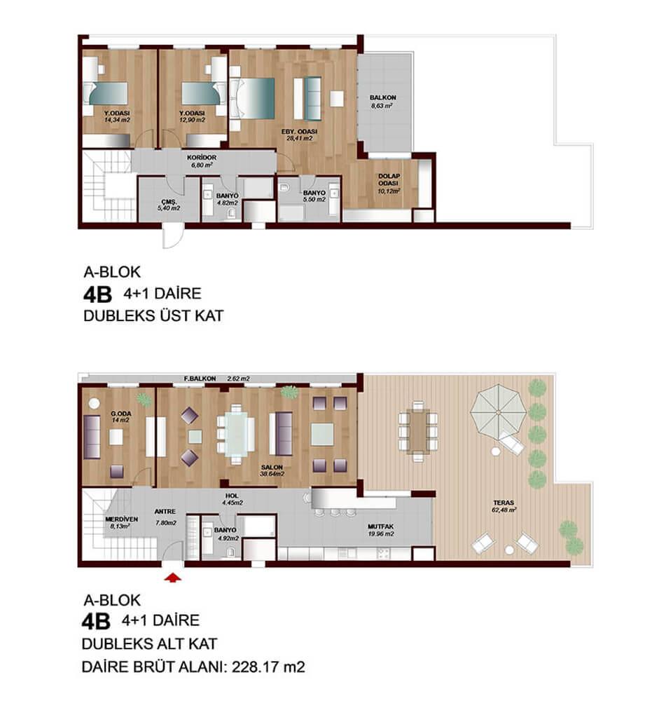 Park Mozaik  4+1 Dublex  Kat Planları