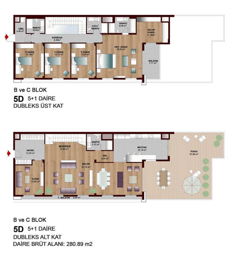 Park Mozaik  5+1 Dublex  Kat Planları