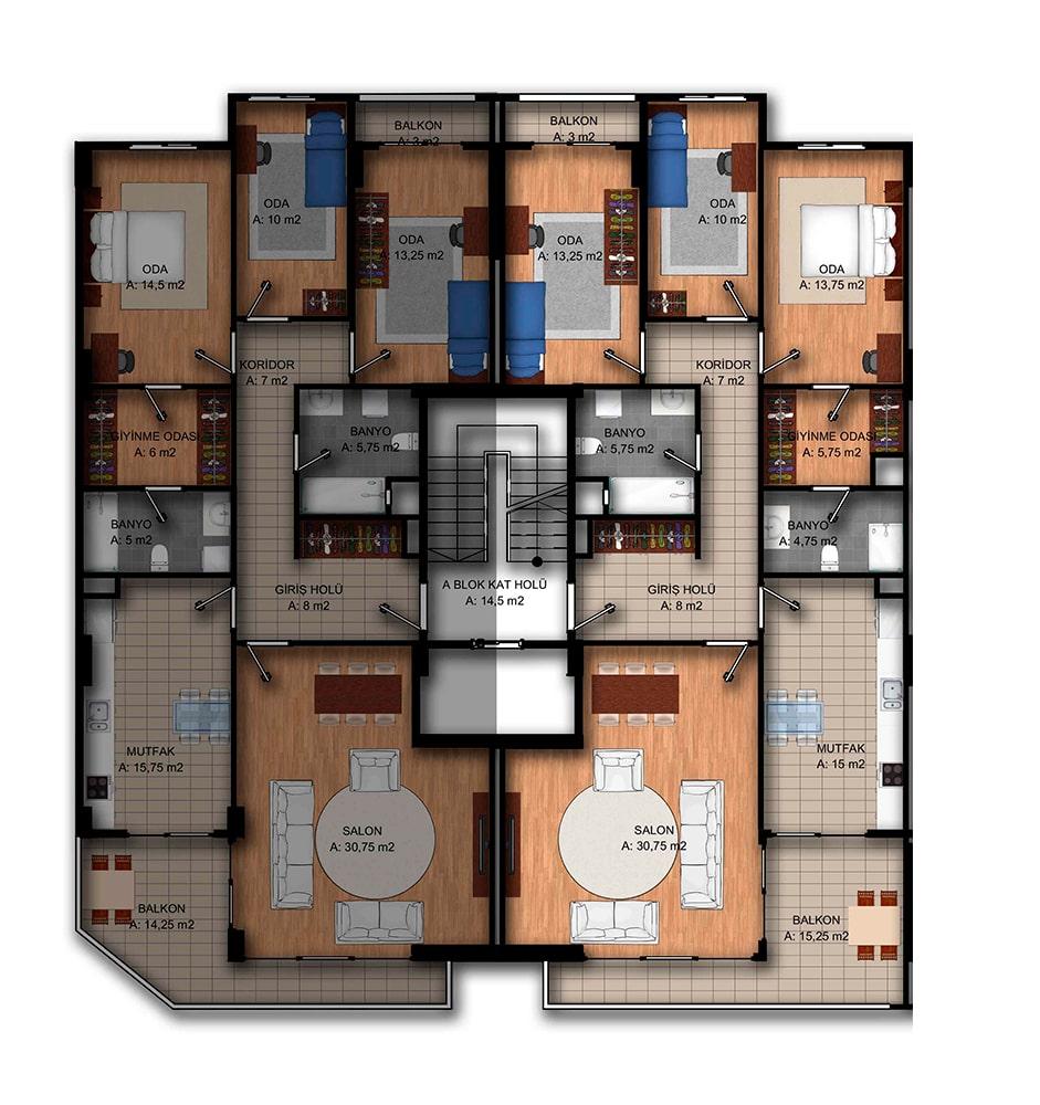 Park Vista Evleri 3+1 Kat Planları