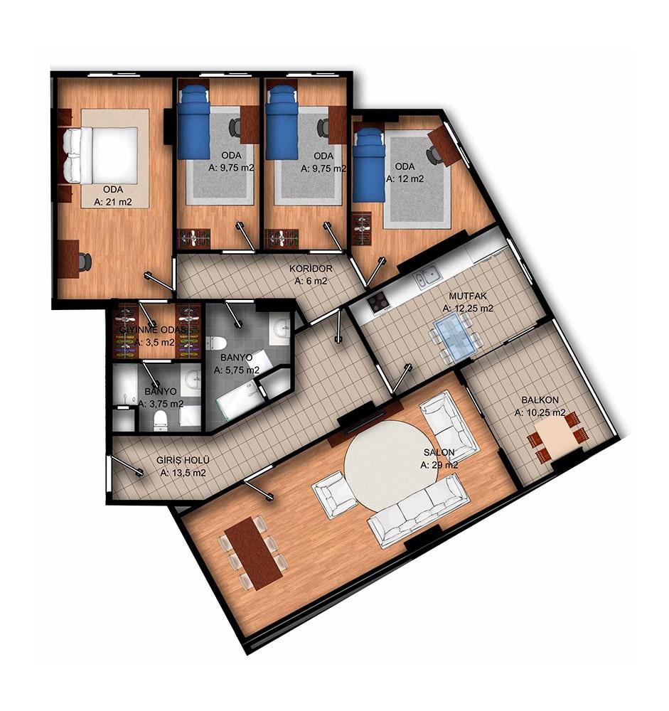 Park Vista Evleri 4+1 Kat Planları