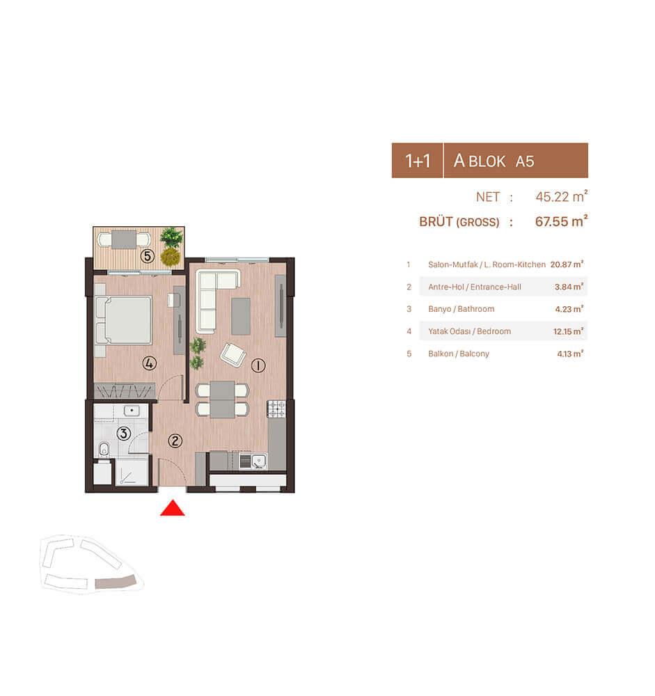 Plusera City 1+1 Kat Planları