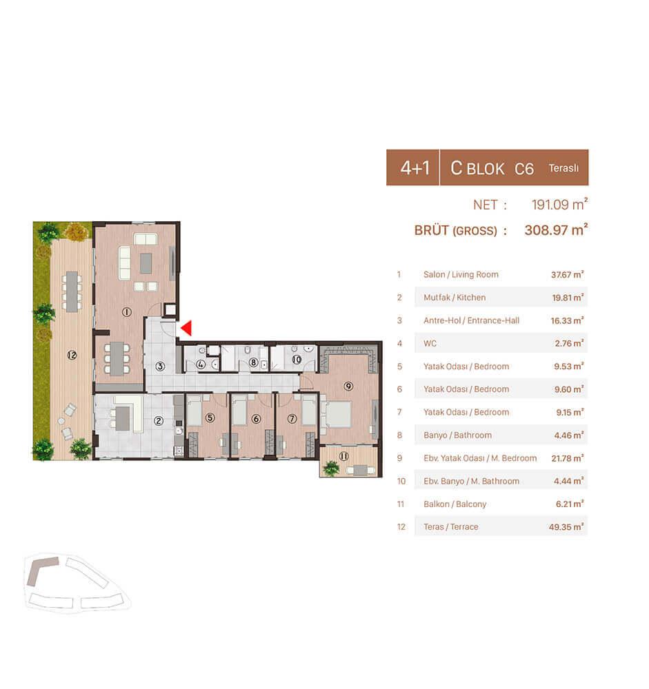Plusera City 4+1 Kat Planları
