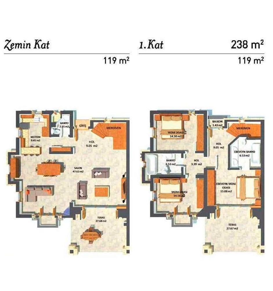 Profilo Turkuaz Koy Evleri 3+1 Dubleks Kat Planları