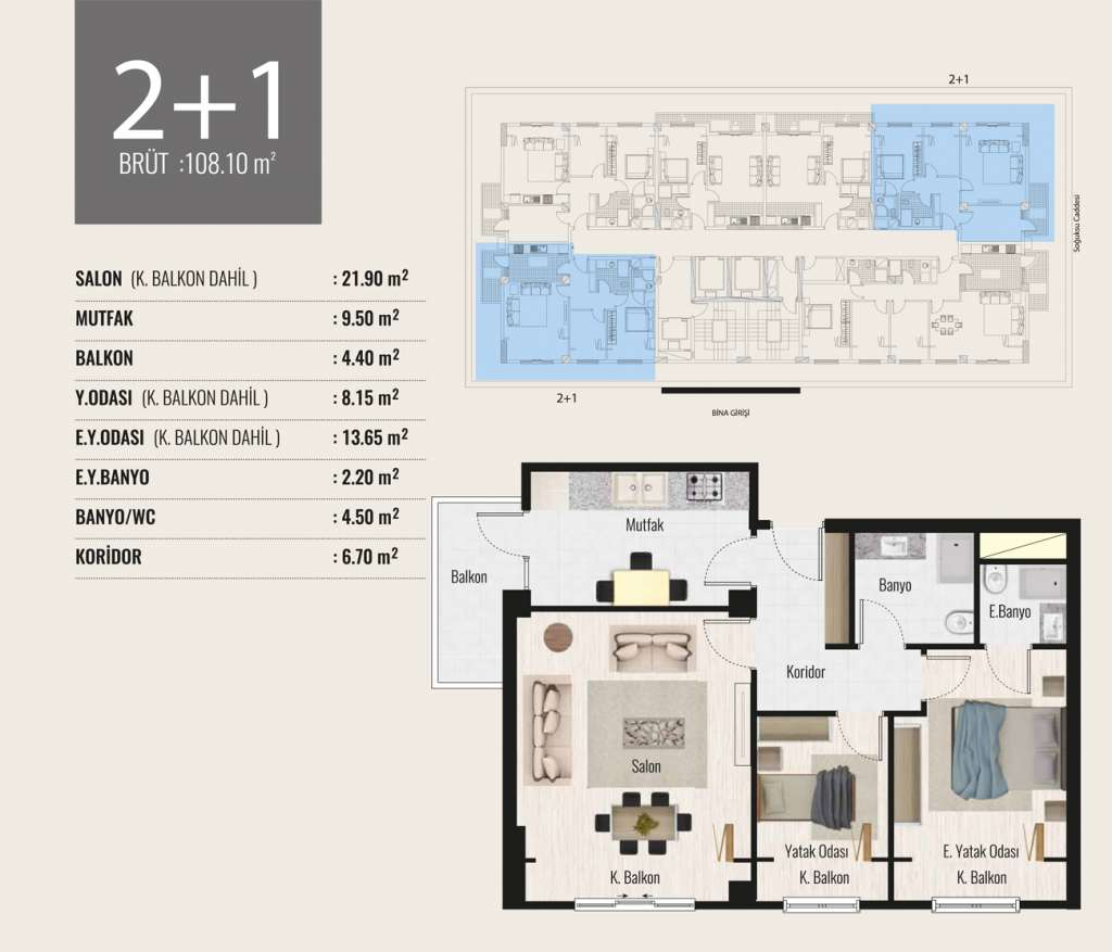 Tima Terrace 2+1 Kat Planları