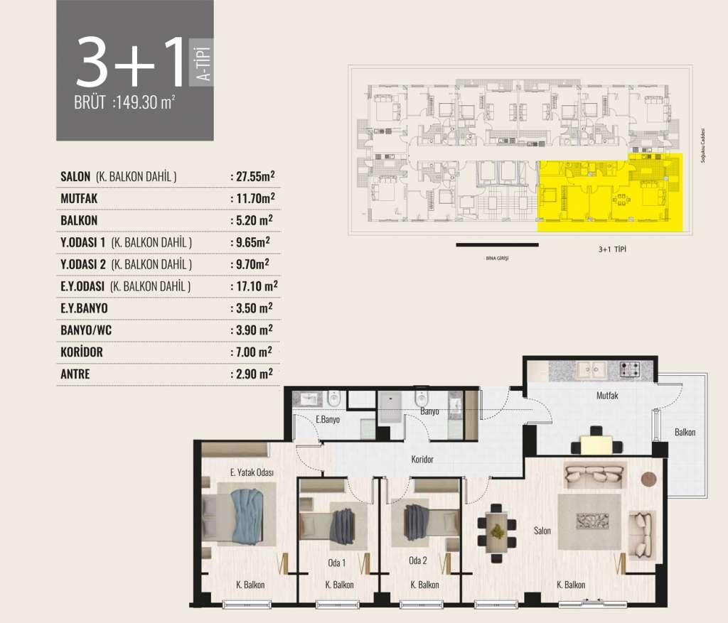 Tima Terrace 3+1 Kat Planları