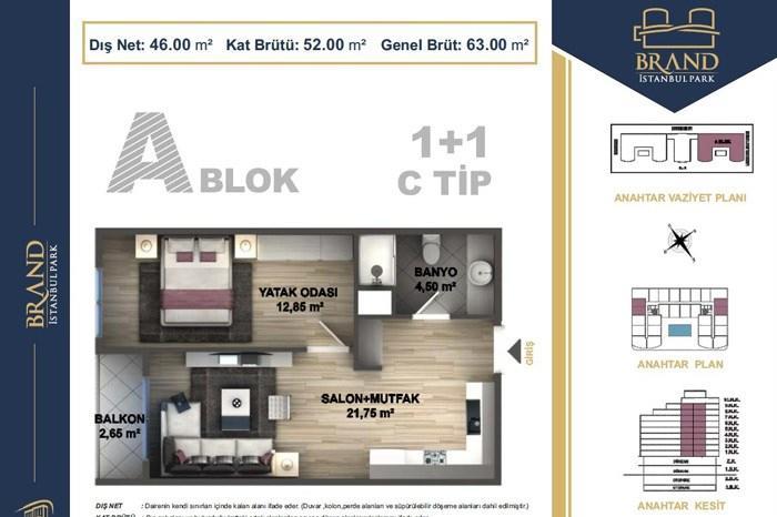 Brand İstanbul Park  1+1 Tip B Kat Planları