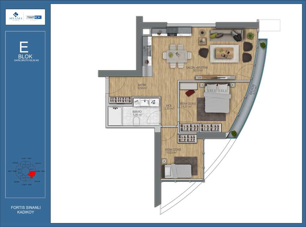 Fortis Sinanlı  2+1 Kat Planları
