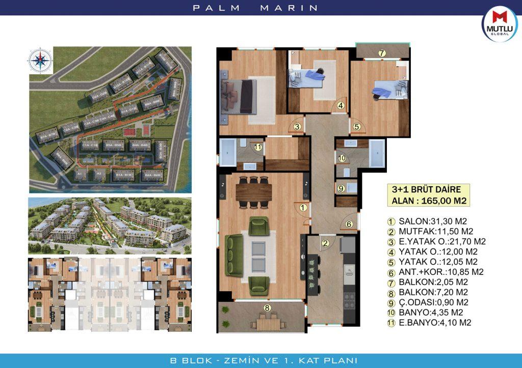 Palm Marin Beylikdüzü 3+1 Kat Planları