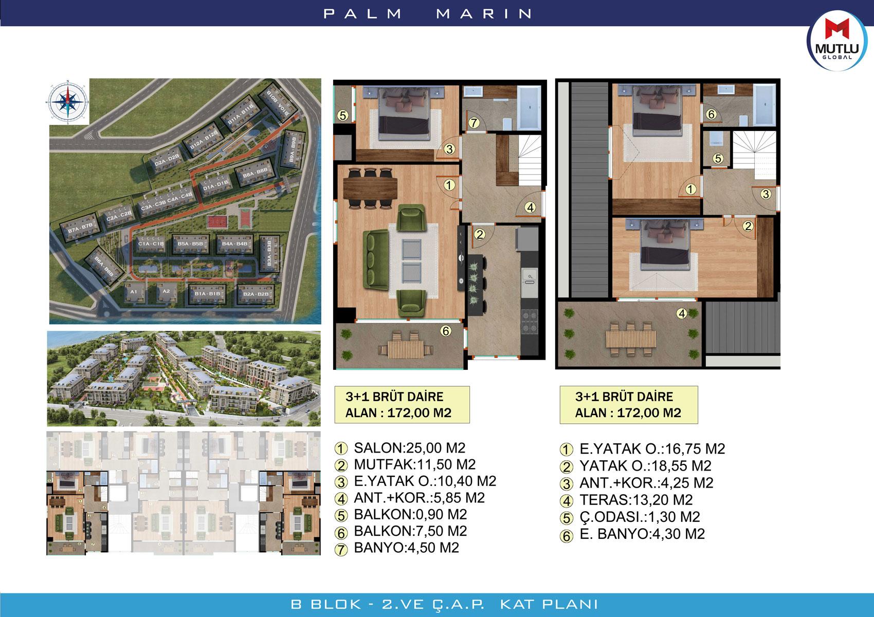 Palm Marin Beylikdüzü 3+1 Dubleks Kat Planları