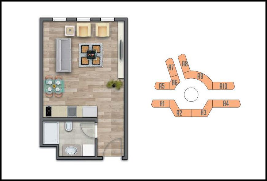 Meydan Ardıçlı 1+0 Kat Planları