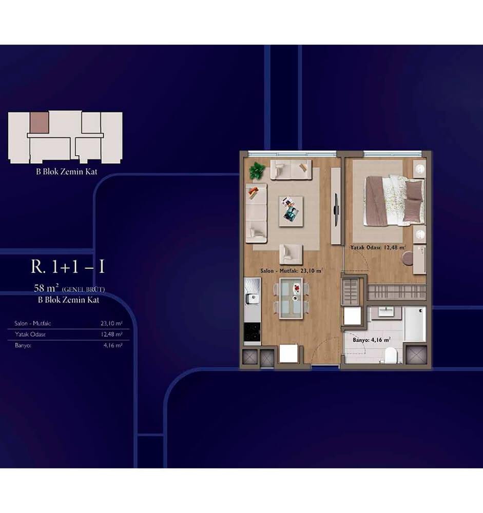 Mirage Residence 1+1  Kat Planları