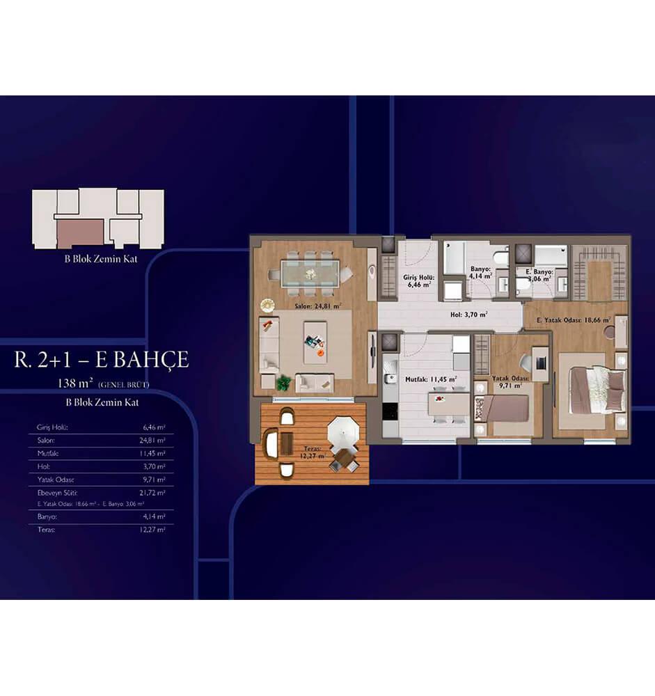 Mirage Residence 2+1 Kat Planları