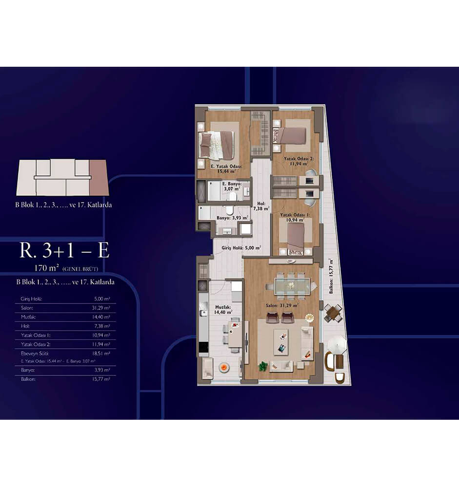 Mirage Residence 3+1 Kat Planları