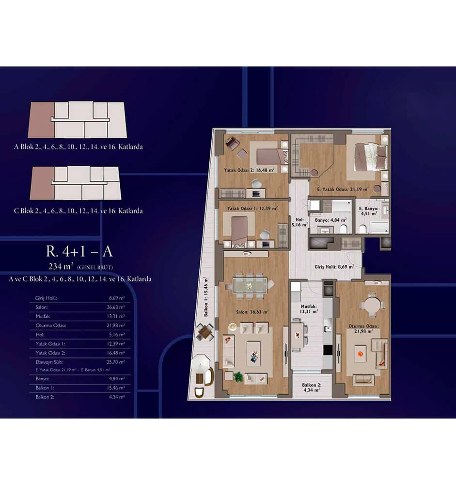 Mirage Residence 4+1 Kat Planları