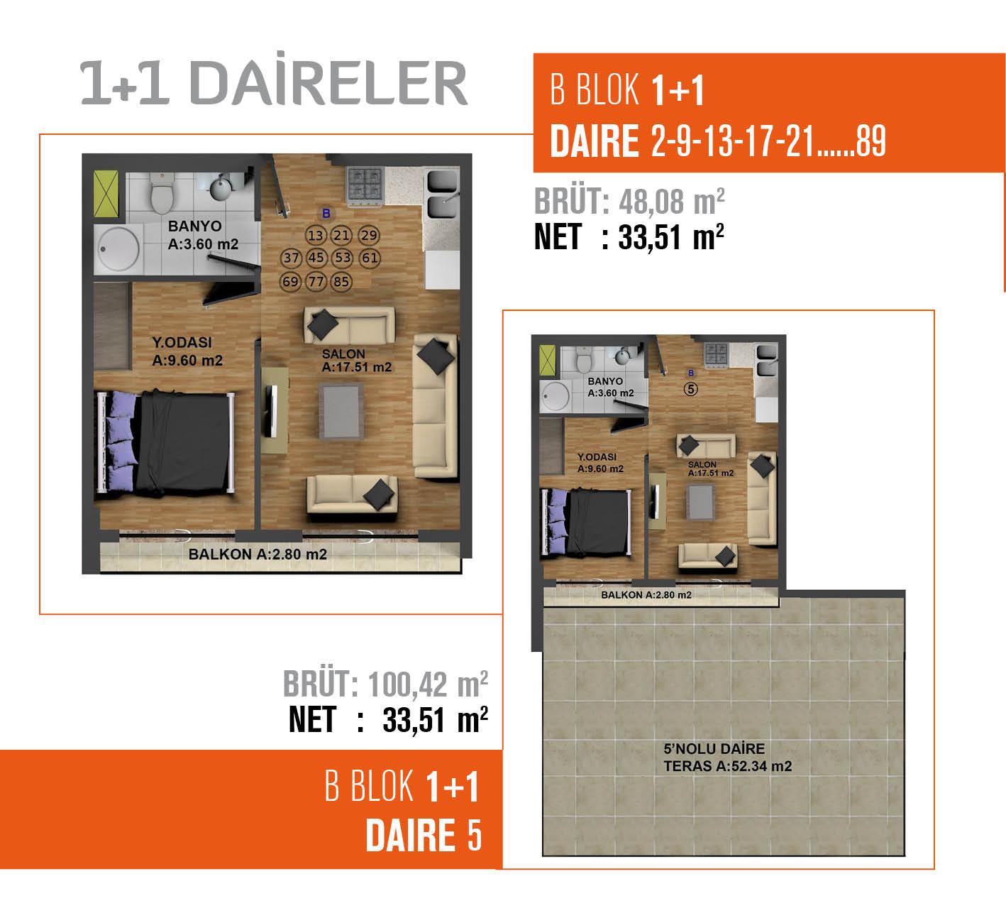 Miran İstanbul Evleri 1+1 Kat Planları