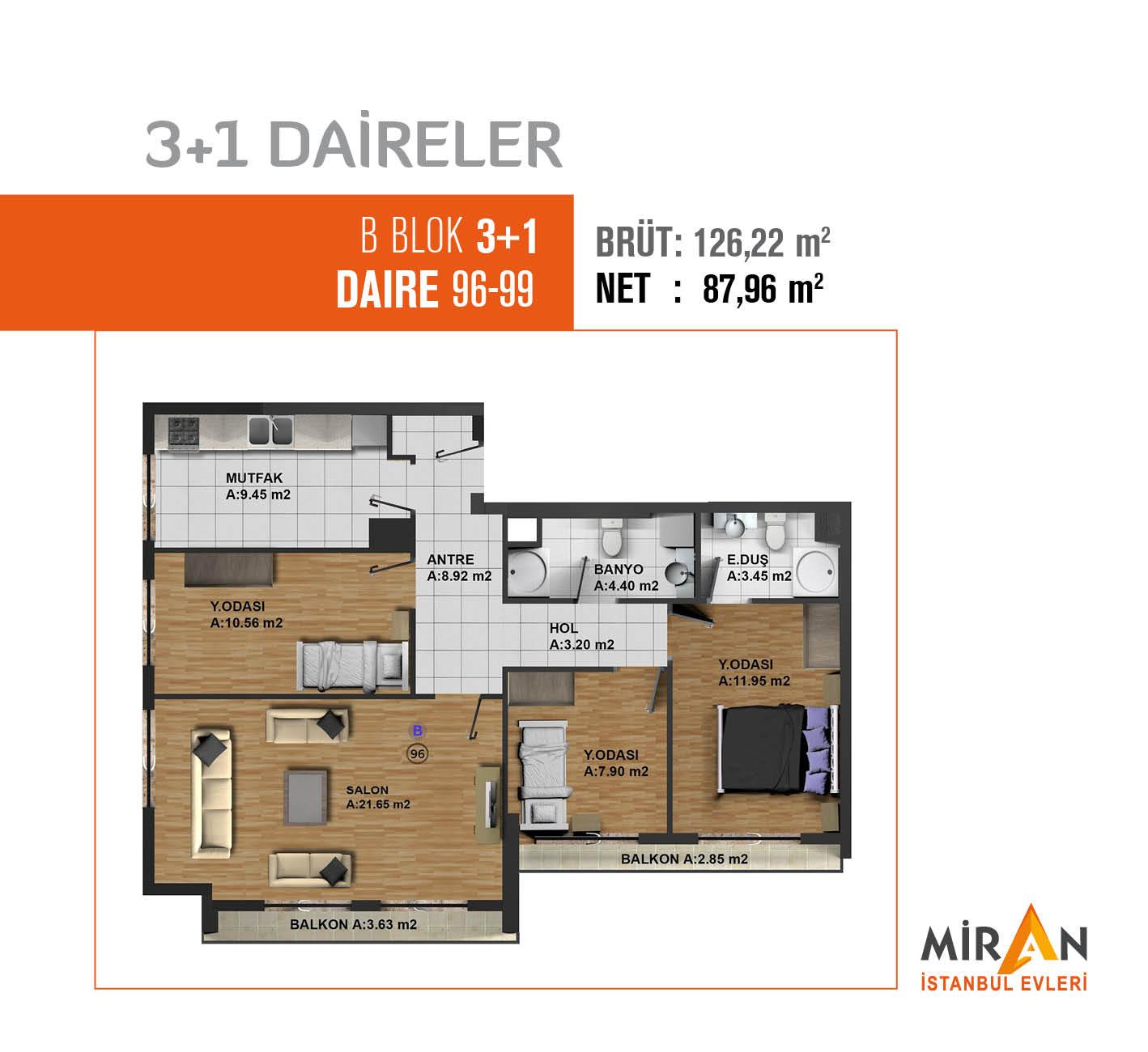 Miran İstanbul Evleri 3+1 Kat Planları