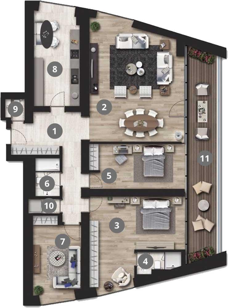 Park Residences Cadde 3+1 Kat Planları