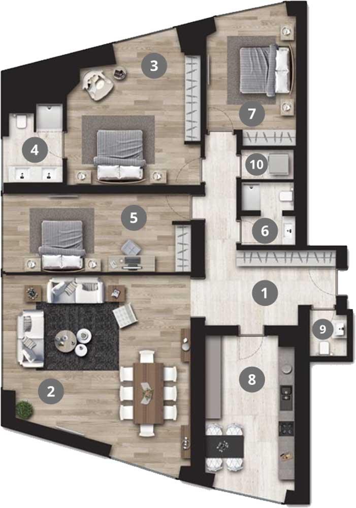 Park Residence Cadde 3+1 Kat Planları