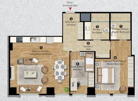 Residence Inn Deluxia 2+1 Kat Planları