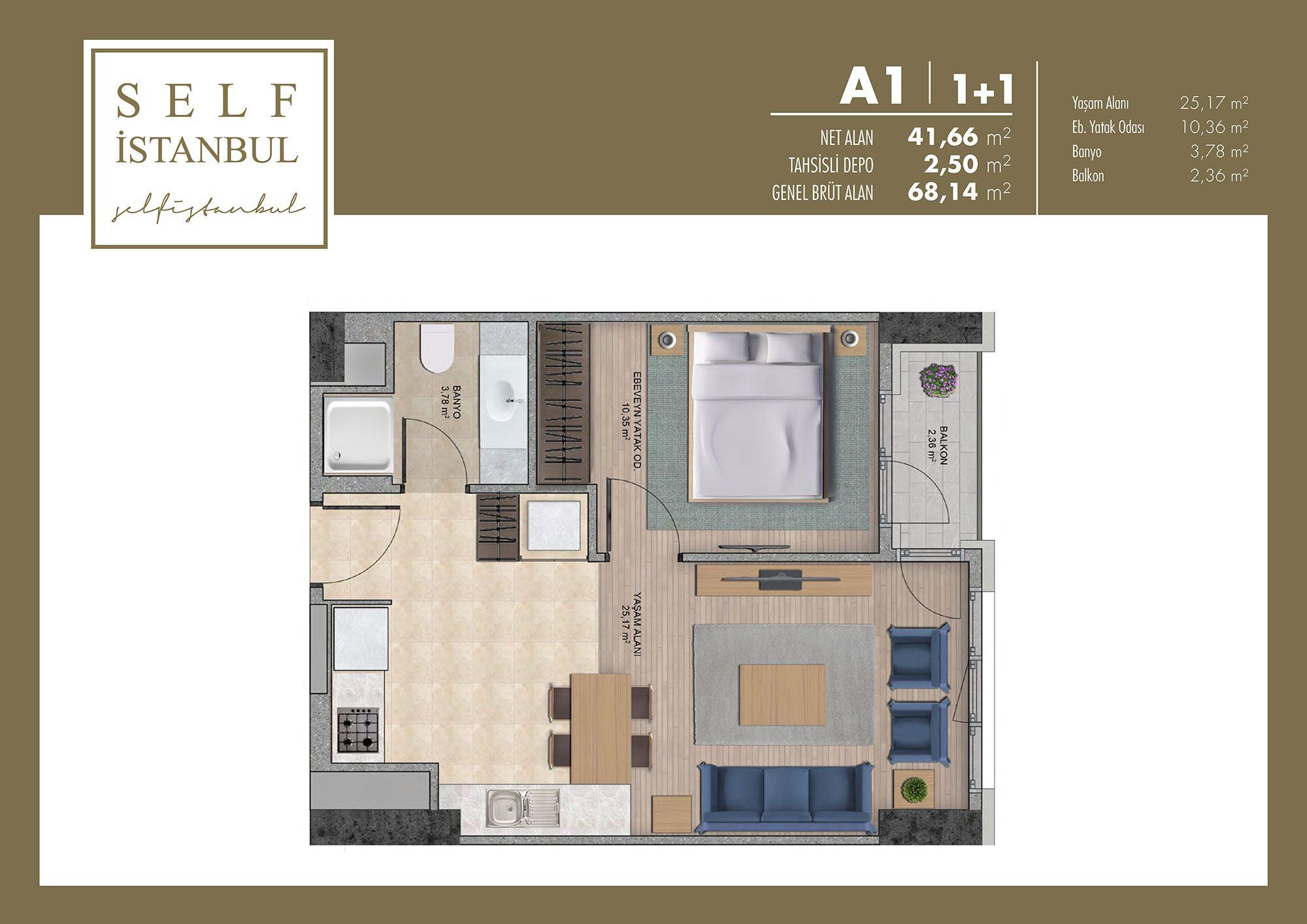 Self İstanbul  1+1 Kat Planları
