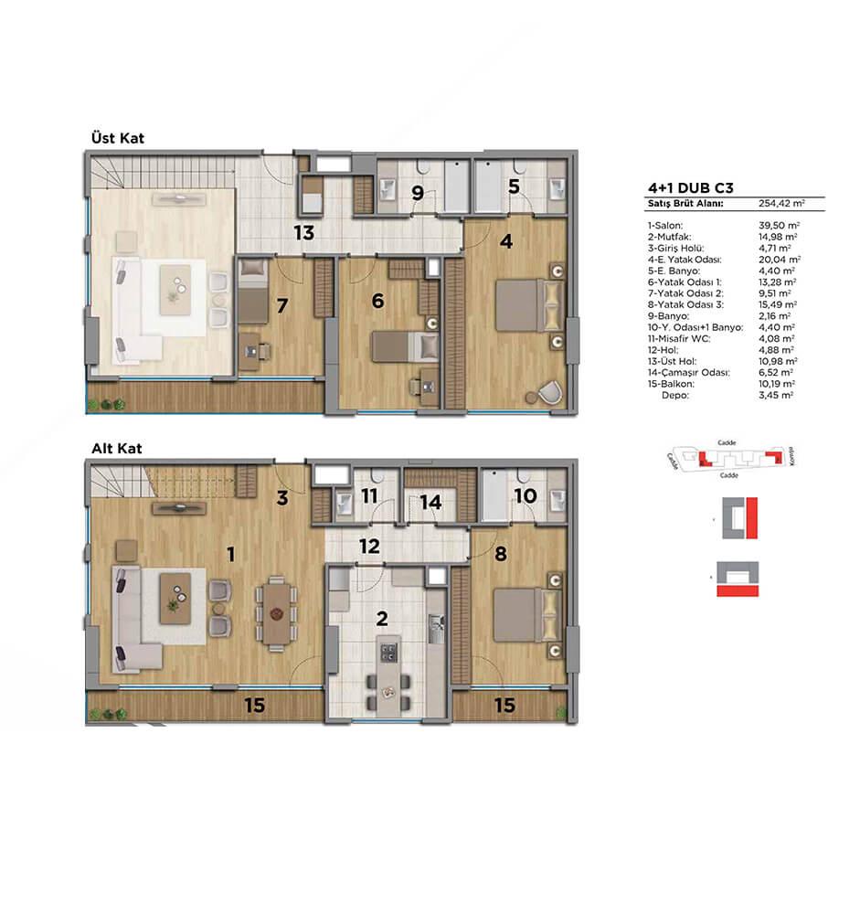 Strada Bahçeşehir 4+1 Dublex  Kat Planları