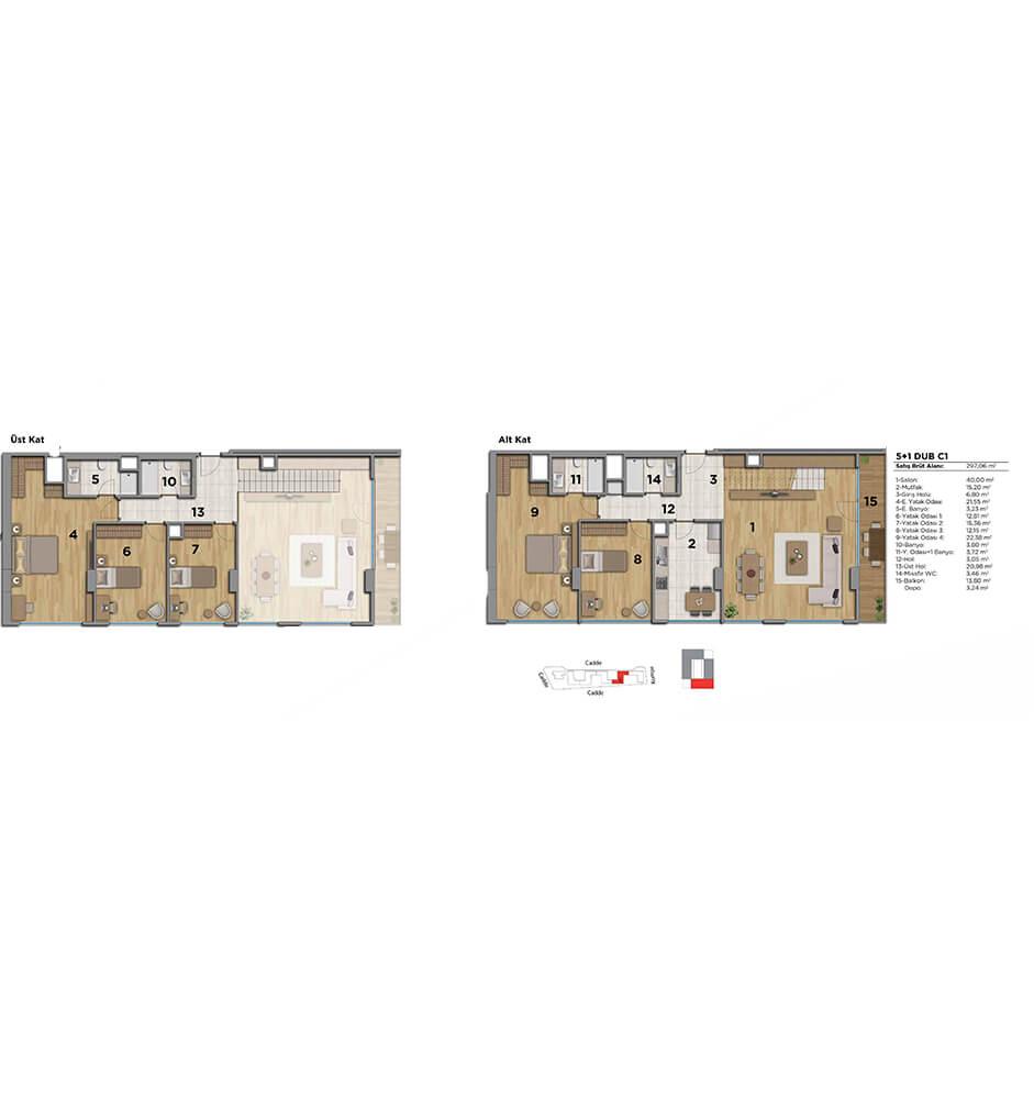 Strada Bahçeşehir 5+1 Dublex  Kat Planları