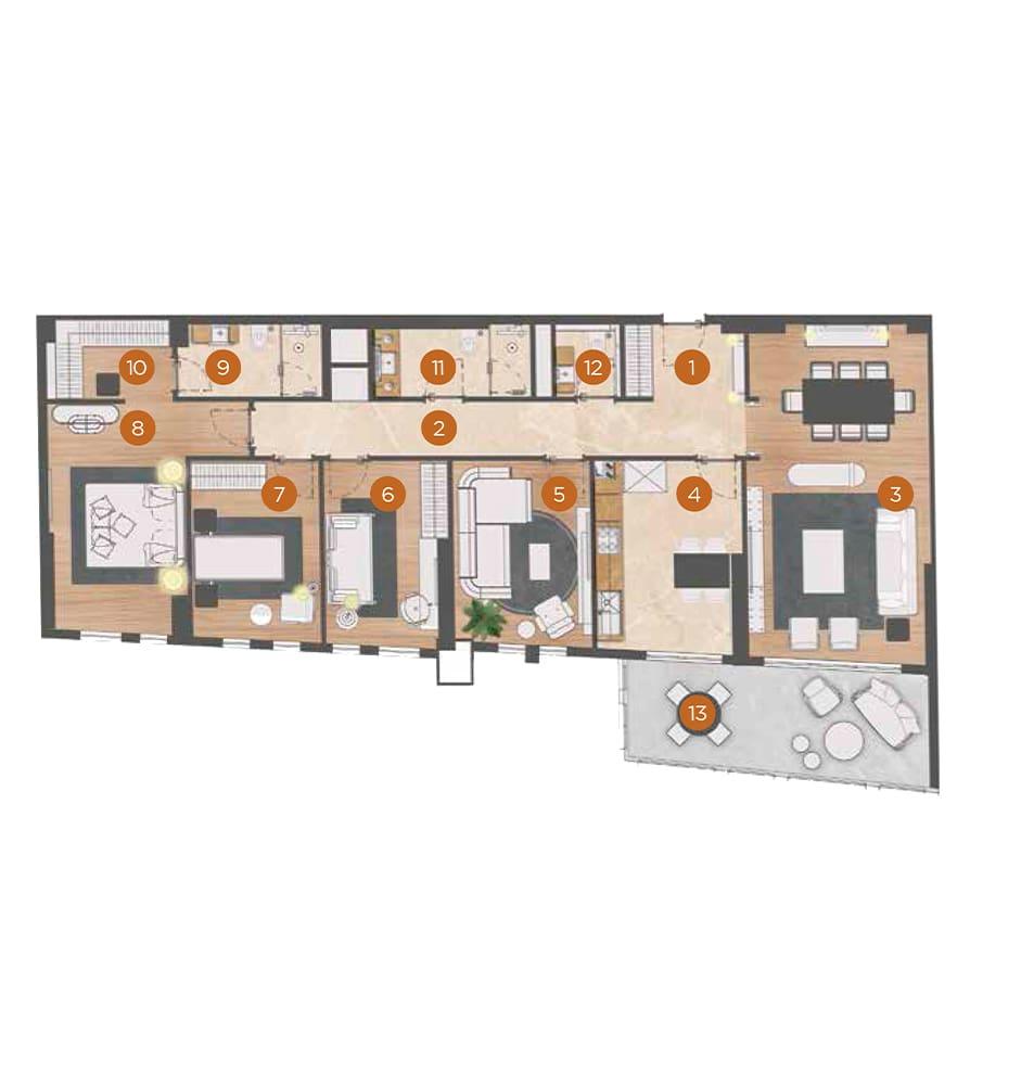 PRYM Luxury Residence 4+1 Kat Planları